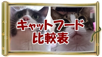 キャットフード比較へ(愛猫モコとミミ巻物Ver.)